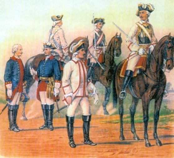 Krievijas armijas Braunšveigas kirasieru pulka virsnieki un karavīri.